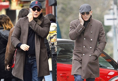 Daniel Craig cold weather style Brunello Cucinelli military officers coat