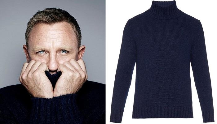 Daniel Craig winter style rollneck sweater